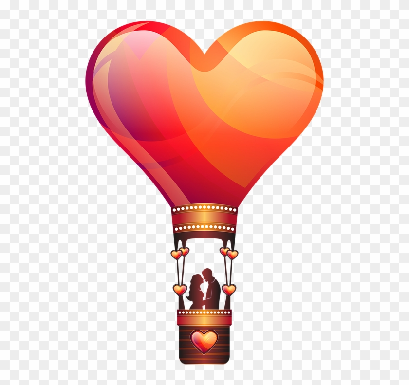 Love, Valentines Day, Celebration - Heart Hot Air Balloon Png #80670