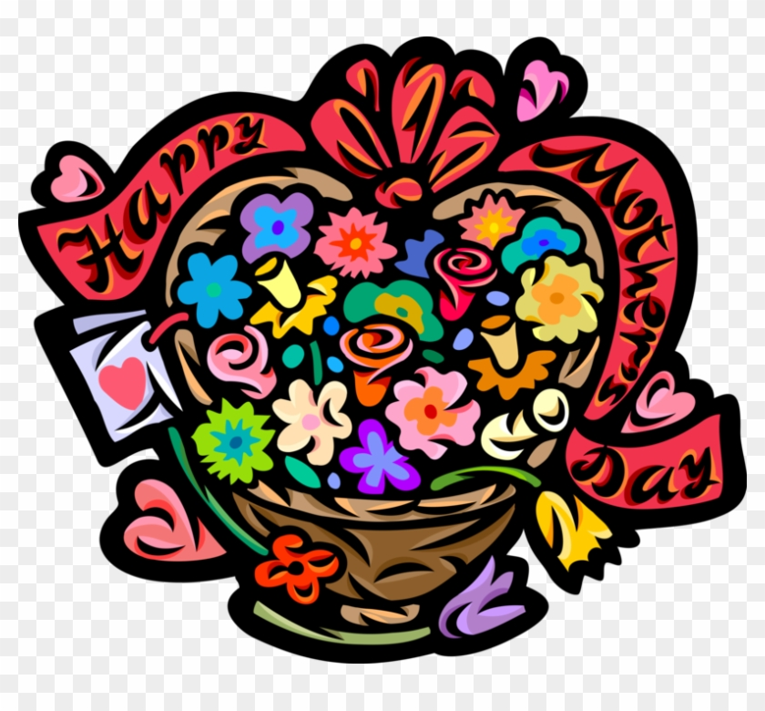 Vector Illustration Of Happy Mother's Day Flower Basket - Mother's Day #80730