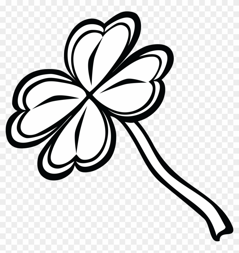 Free Clipart Of A Black And White St Paddy's Day 4 - Four-leaf Clover #81009