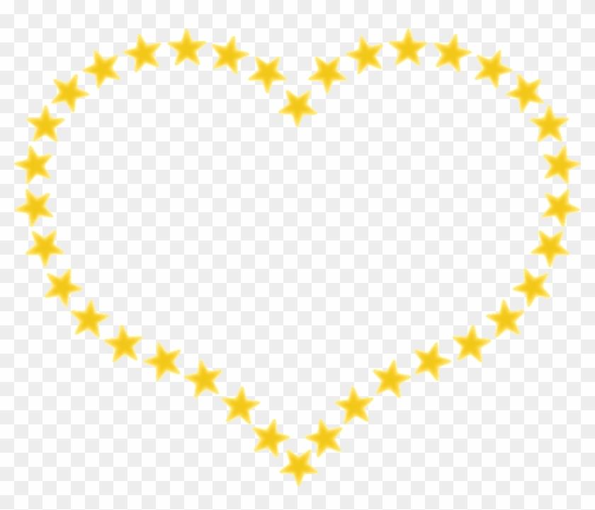 Heart Stars Border Outline Yellow Design Element - Star In Heart Shape #81488