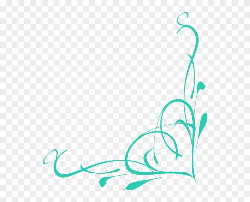 Corner Heart Swirl Clip Art - Turquoise Corner Border Design #82294
