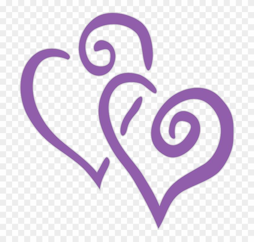Purple Double Hearts Clip Art #83017