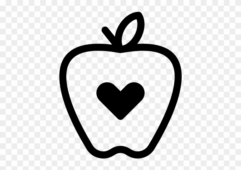 Size - Heart Apple Black And White #83379