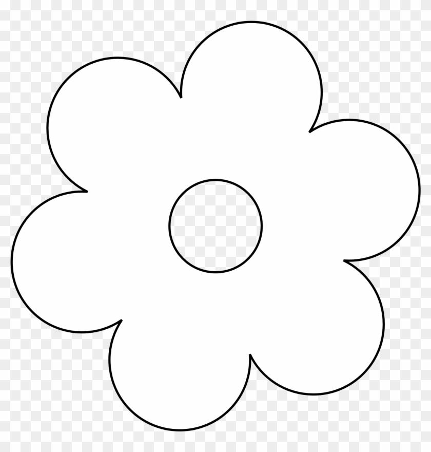 Retro Flower 6 Black White Line Art Twitter Valentine - Flower Black And White #84658