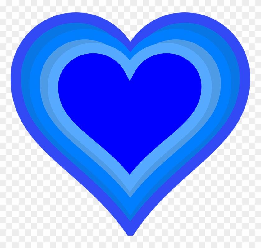 Heart Love Shape Valentine Growing Blue - Gambar Love Warna Biru #84919
