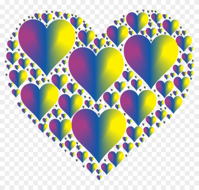 Heart Hearts 3 Love Shape Valentine Romance - Colorful Hearts No Background #84959