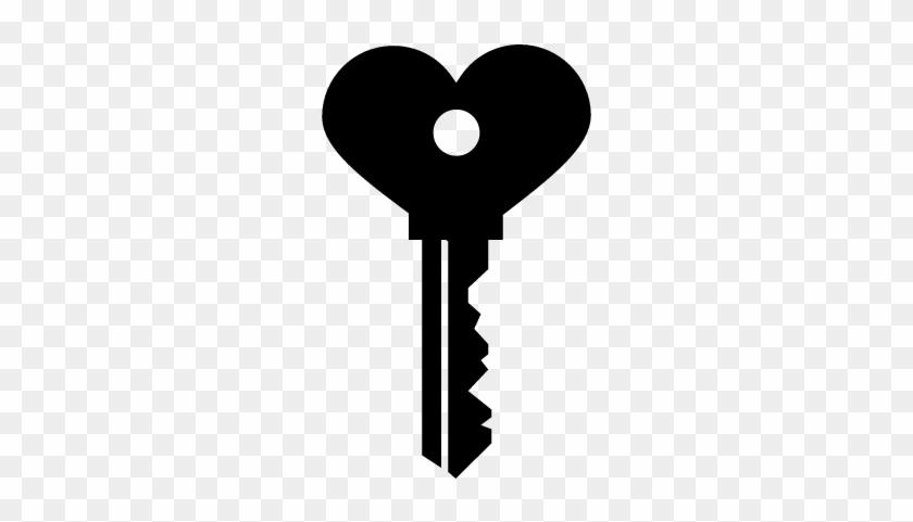 Heart Shaped Key Vector - Llave De Corazon Dibujo #84972
