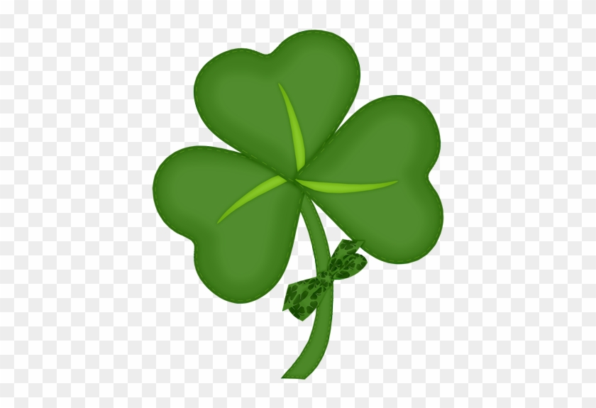 St Patrick Shamrock With Bow Png Picture - Portable Network Graphics #85057