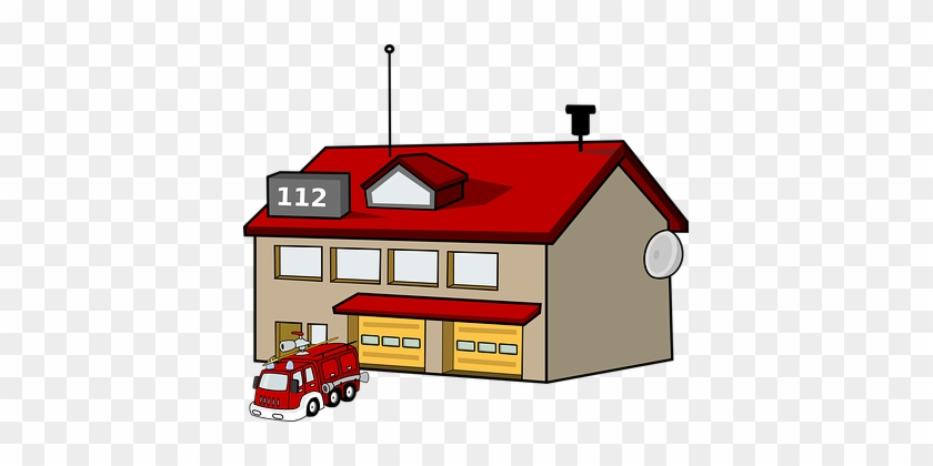 Fire Station House Building Fire Engine Tr - Fire Station Clipart #85415