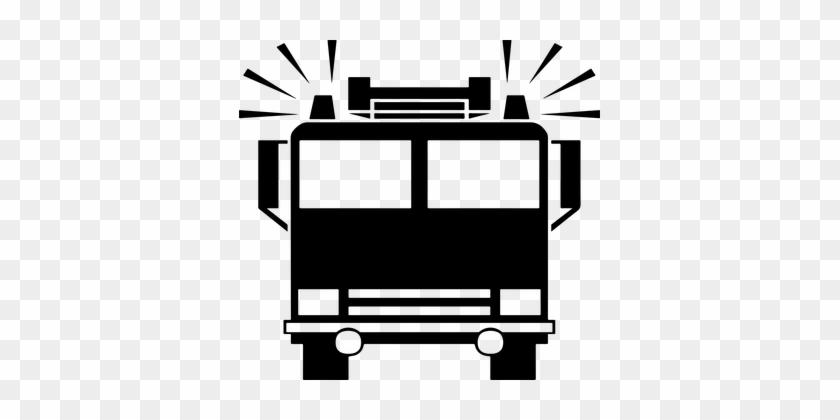 Fire Fireman Firemen Icon Sirens Transport - Firetruck Silhouette #85468