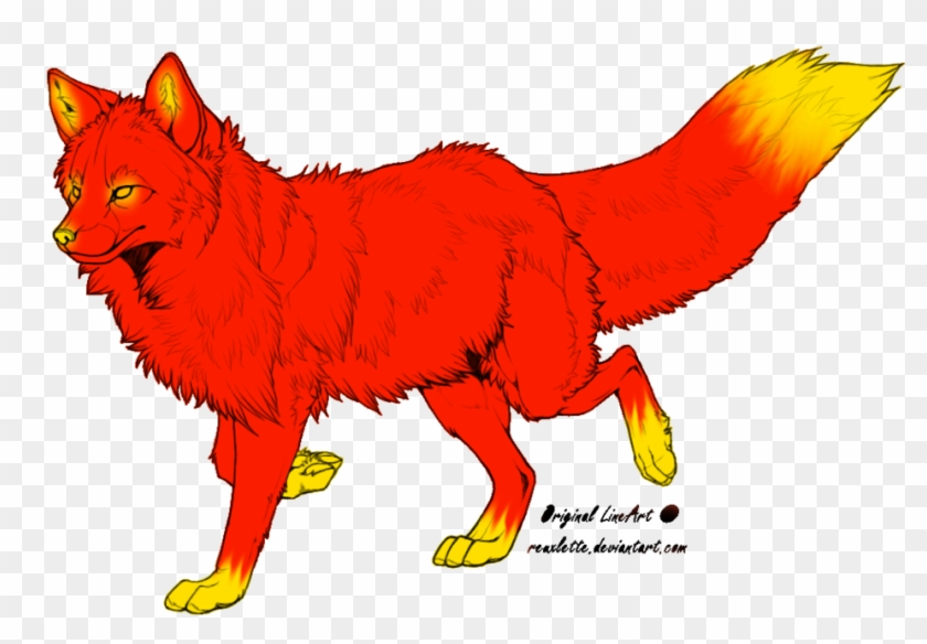 Lineart-fire By Xxrainbowgodxx0 On Clipart Library - Outline Of A Fox #85568