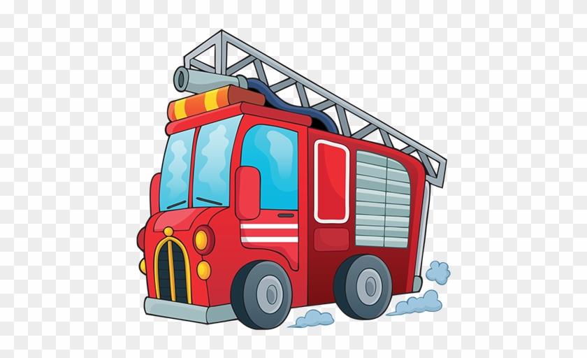 Taxi Firetruck - Cartoon Fire Truck With Fireman #85575