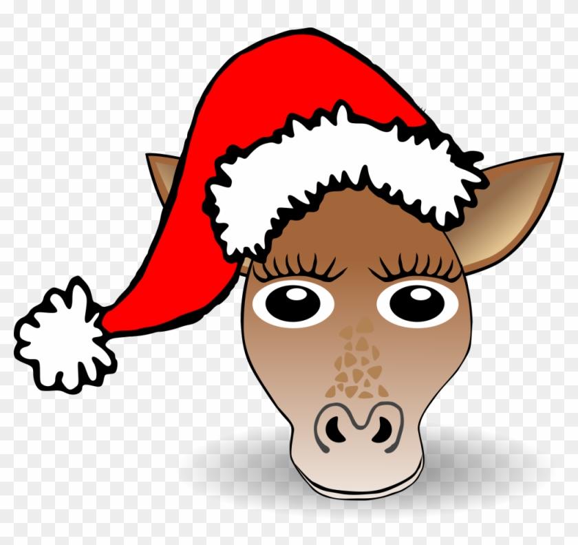 Funny Giraffe Face Cartoon With Santa Claus Hat - Cartoon Face Of Funny Santa #85644