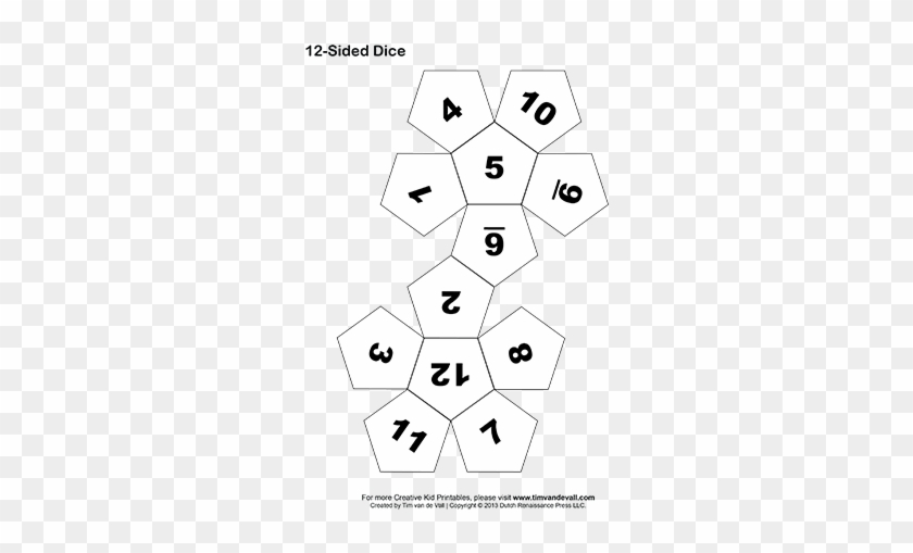 picture relating to Printable Dice named Printable 12-sided Cube - 12 Sided Cube Template - No cost