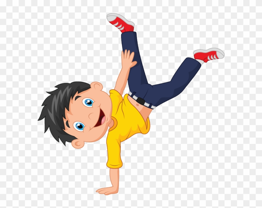 The Boy Is Turning Cartwheels With Glee Boy Dance Cartoon Free Transparent Png Clipart Images Download
