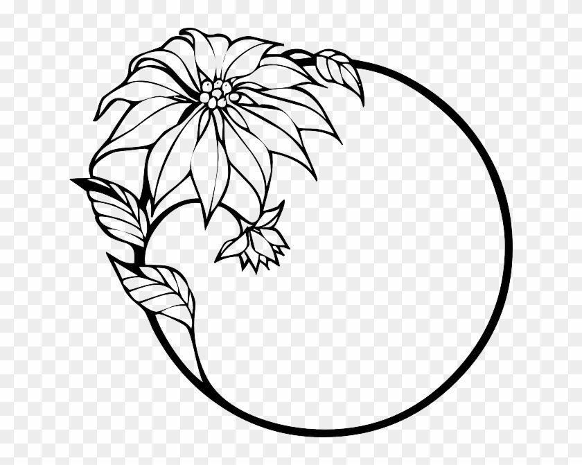 outline black wreath holly corner tribal simple flower line