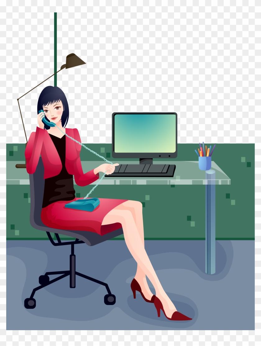Cartoon Woman Computer File Office Lady Sitting On Desk