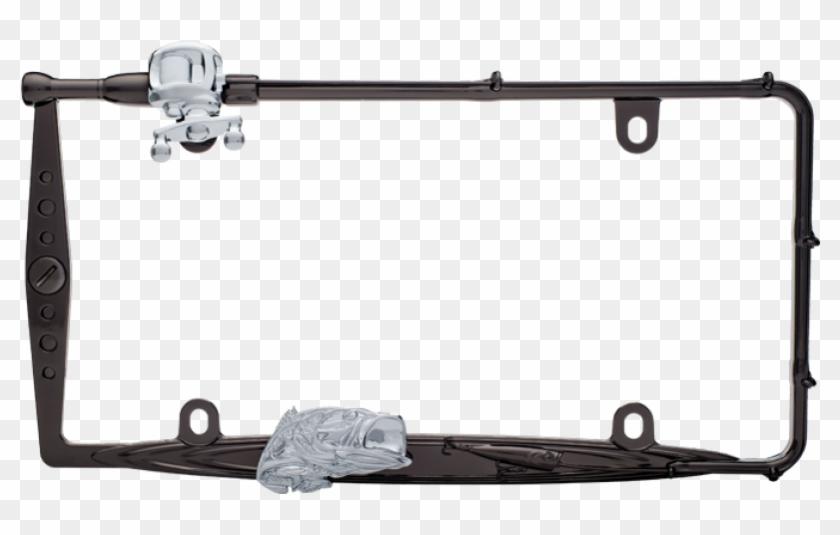 Fishing Rod - Fishing Black And Chrome License Plate Frame - Free ...