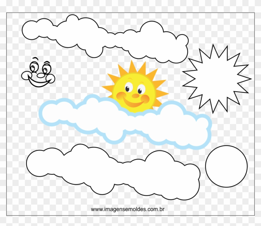 Molde De Nuvem E Sol Para Eva Feltro E Artesanato - Molde De Nuvem E Sol Em Eva #468193