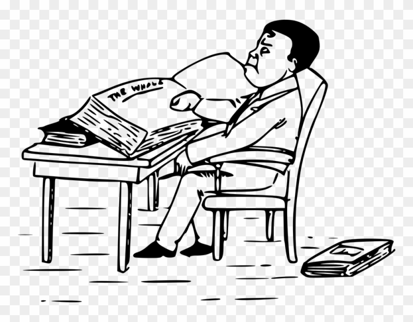 Person Sitting At Desk Drawing - Drawing A Man Reading A Book #468284