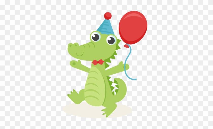 Birthday Alligator Svg Scrapbook Cut File Cute Clipart - Alligator Birthday Clip Art #468479