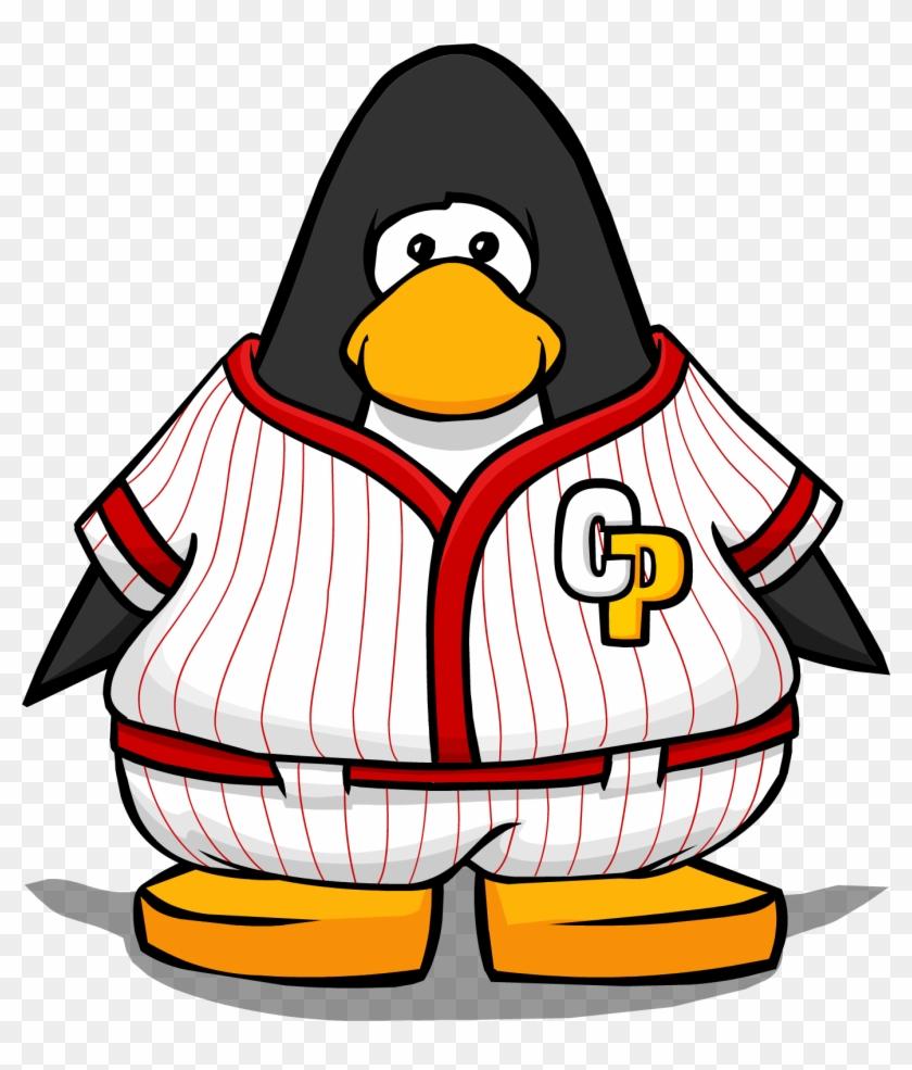 Red Baseball Uniform On A Player Card - Club Penguin Black Belt #469515