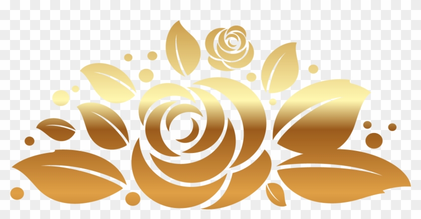 Flower Vector Png Image Purepng: Gold Rose Decor Png Clipart Picture