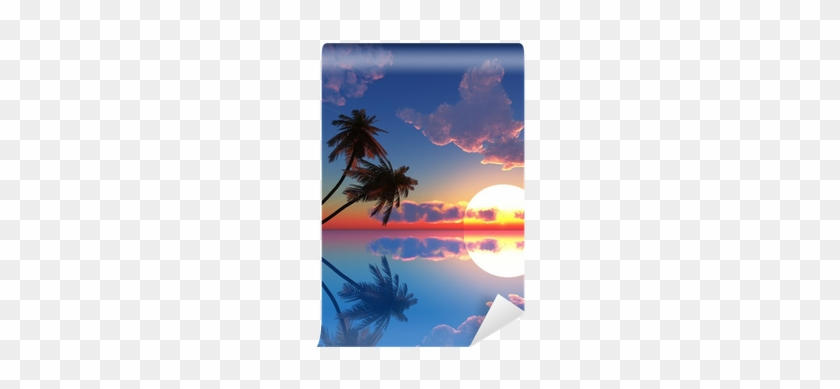 Fotomural Puesta Del Sol Palmeras De Coco En La Pequeña - Palm Trees On The Beach #470526