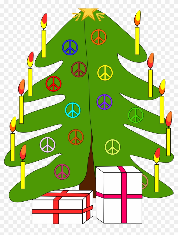 Xmas Christmas Tree 7 Peace Symbol Sign Coloring Book - Christmas Tree Throw Blanket #470609