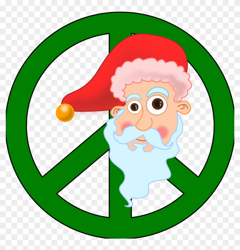 Santa Head Christmas Xmas Peace Symbol Sign Coloring - Santa Claus #470620