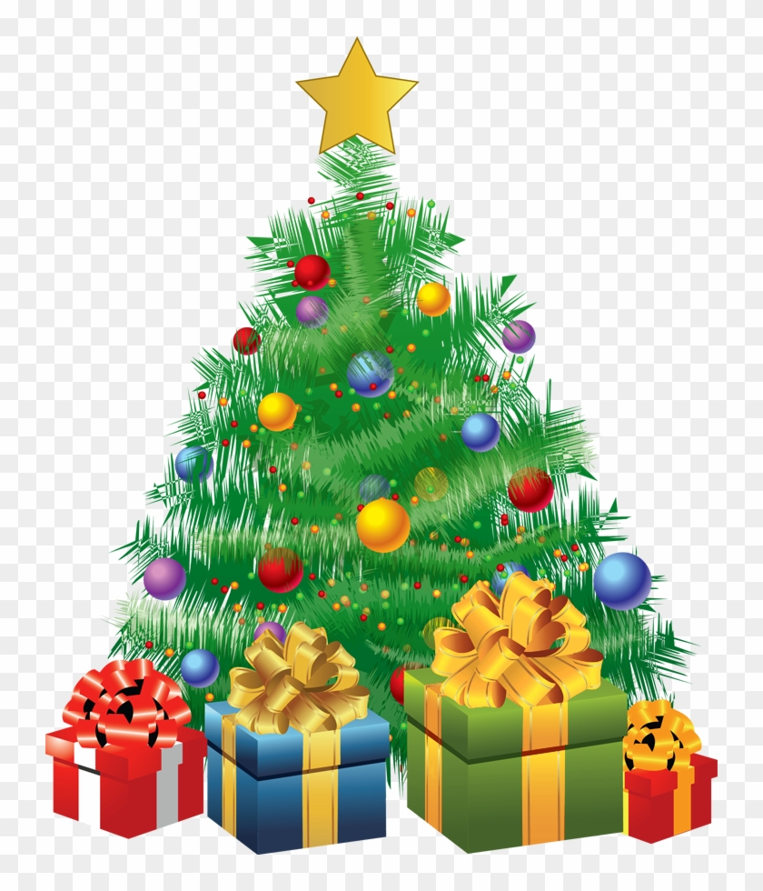 Transparent Christmas Green Tree With Gifts Png Picture - Christmas Tree With Gifts Animated #470748