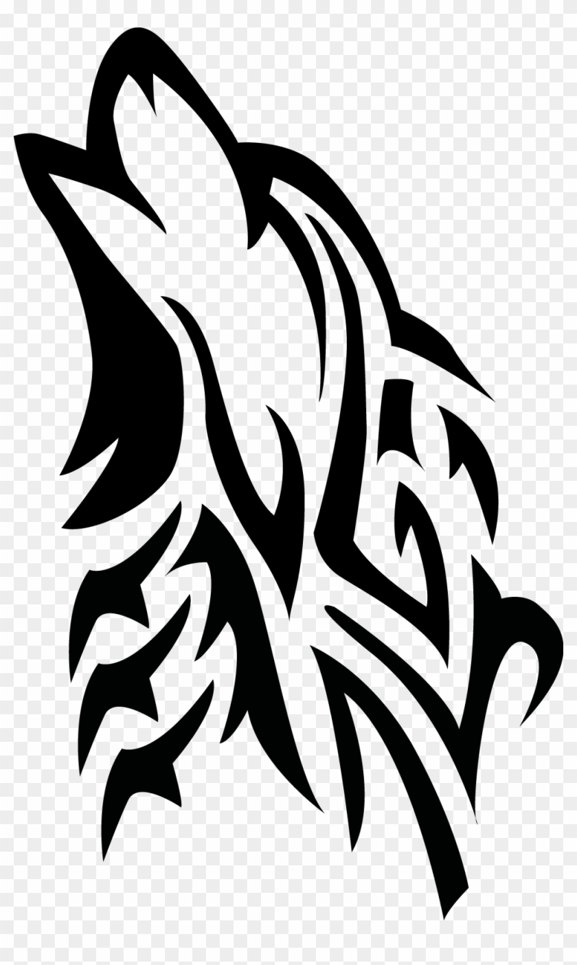 Tribal Howling Wolf For Image Howling Wolf Tattoo Png Free