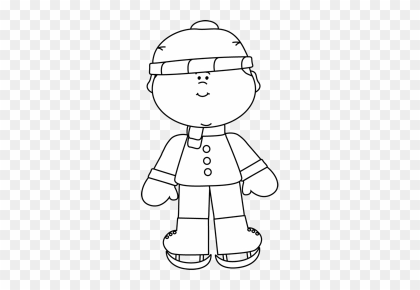 Black And White Boy Ice Skating - Free Pirate Clipart Black And White #473096