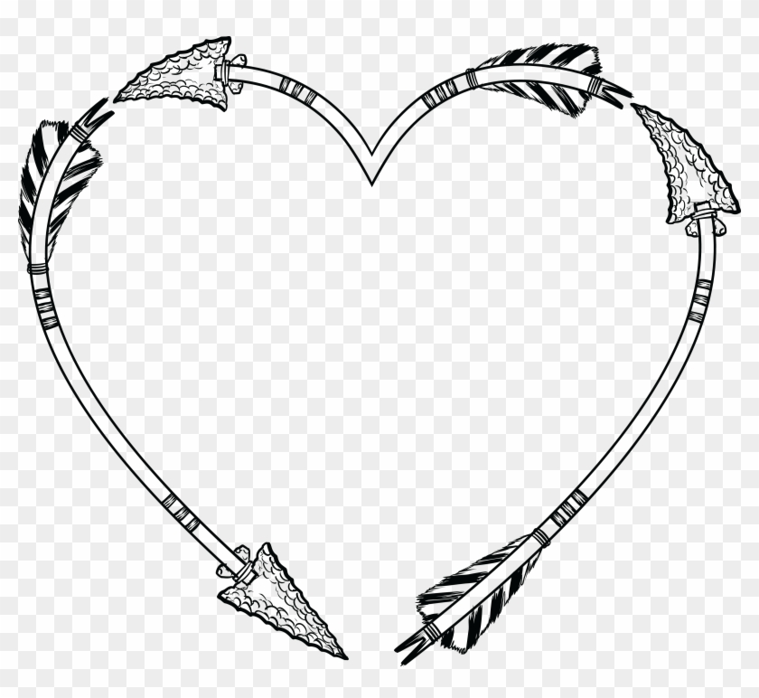 Free Clipart Of A Flint Arrow Heart Shaped Frame - Heart Shaped Frame Png #474870