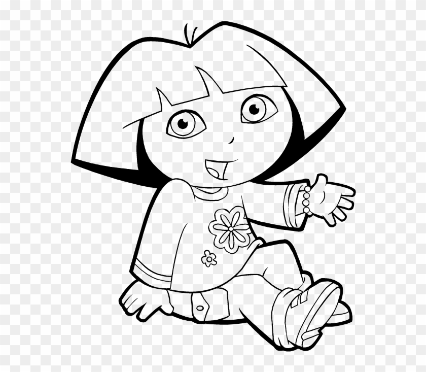 Dora The Explorer Are Sitting Coloring Pages - Black And White Picture Dora The Explorer #474948