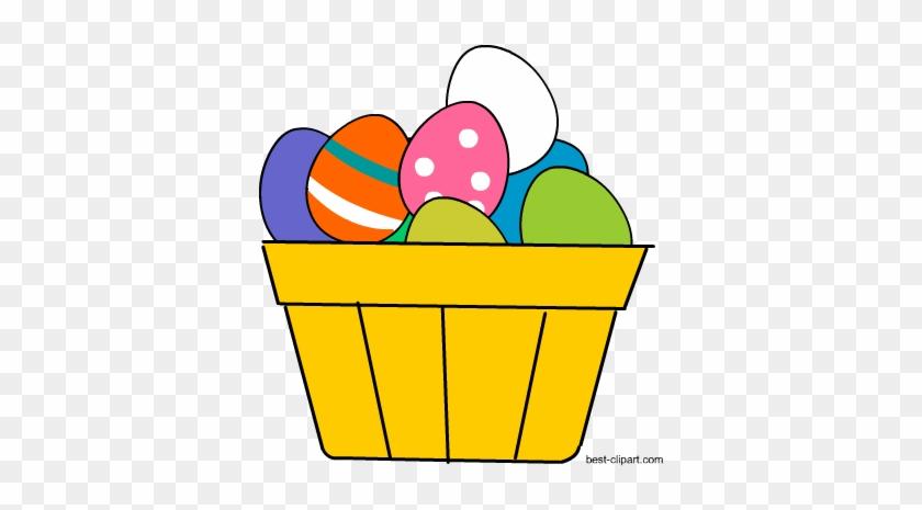 Basket Full Of Colorful Easter Eggs Clip Art - Easter Egg #475165