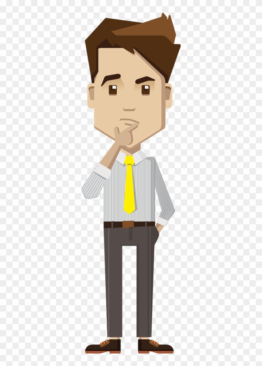 cartoon businessman thinking - thinking business man png - free