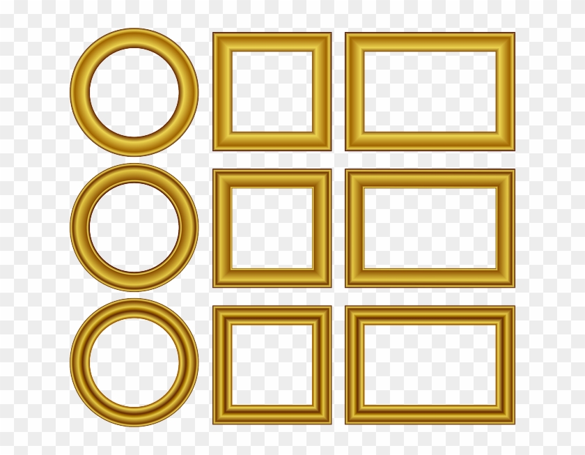 Set, Frame, Wedding, Design, Cartoon, Golden, Border - Frame Gold Free Vector #475429