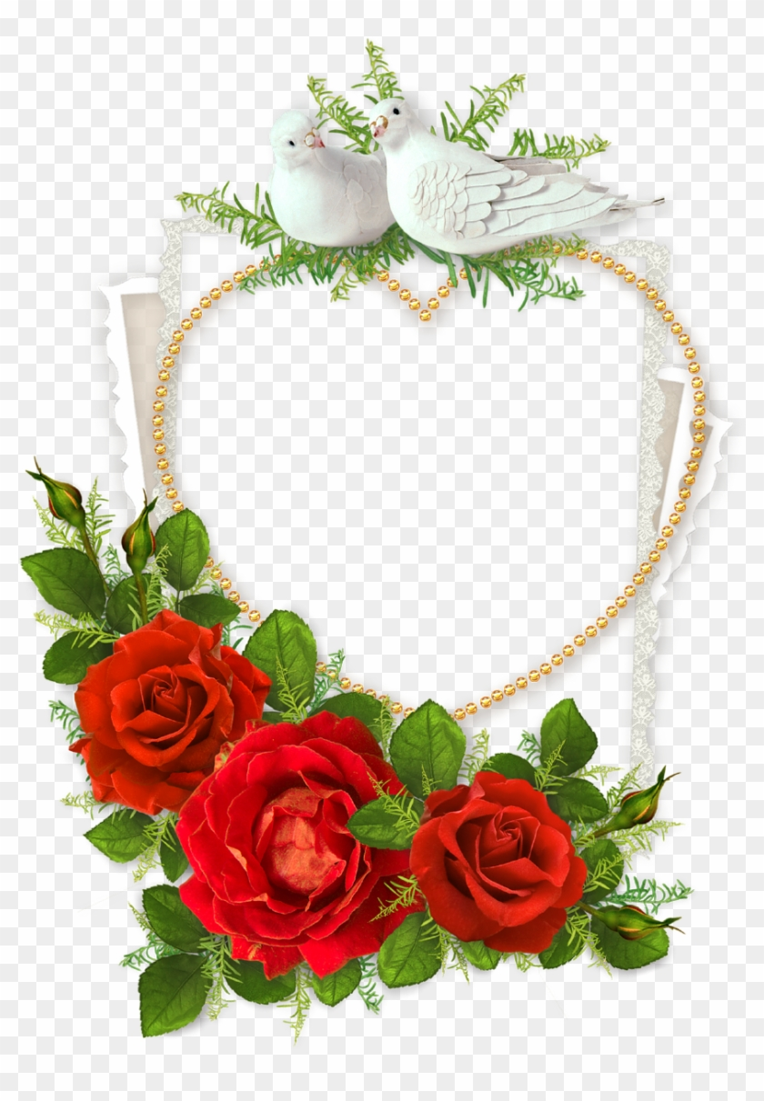 Heart Shaped Photo Frame With Doves And Red - Good Morning Happy New ...
