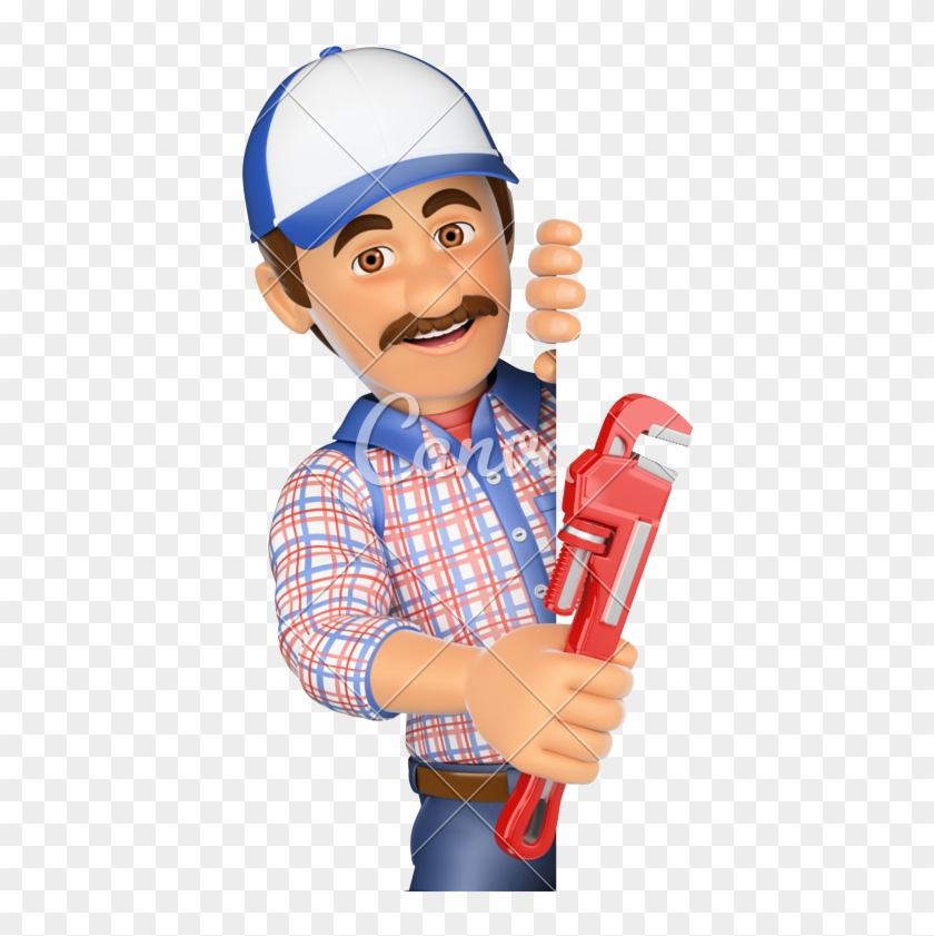 3d Plumber With A Pipe Wrench - Pipe Wrench - Free Transparent PNG
