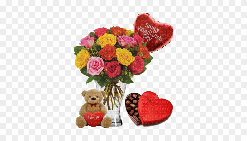 Happy Valentine's Day Bouquet Of Roses - Shaggy L Cuddles Amber Teddy Bear #480557