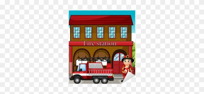 A Fireman With A Fire Truck In A Fire Station Sticker - Imagenes De Fire Station #480675