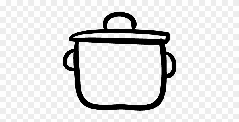 Cooking Pot Outline With Cover Vector - Cooking Pot Outline #481542