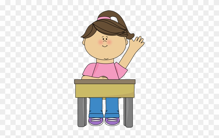 School Girl Raising Hand Clip Art - Cartoon Boy Sitting At Desk #481576