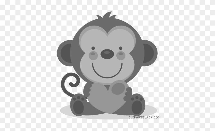 Valentines Day Bear Animal Free Black White Clipart - Baby Shower Monkey Png #481749