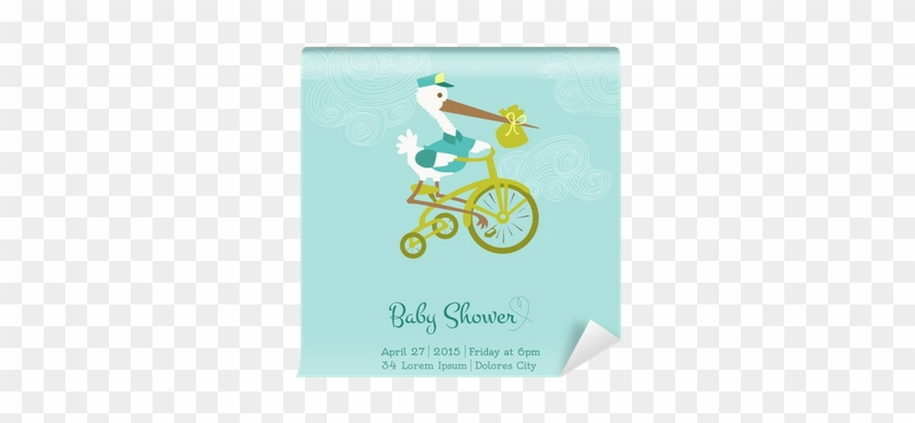 Baby Shower Or Arrival Card With Stork - Please Join Us Baby Shower #483255