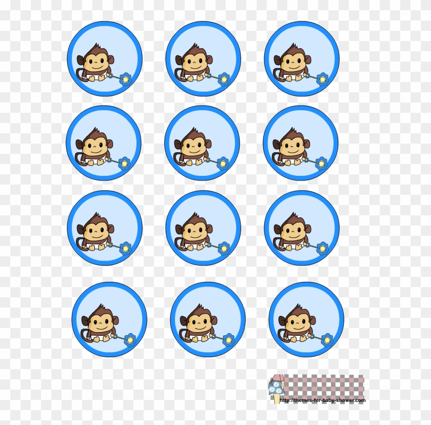 Free Printable Round Labels For Boy Monkey Themed Shower - Baby Monkey Decorations Baby Shower #486311