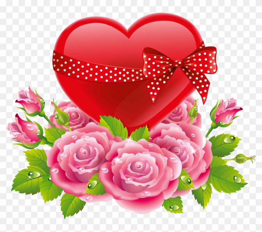 Red Heart & Polka Dot Bow With Pink Roses - Good Night Love Flower