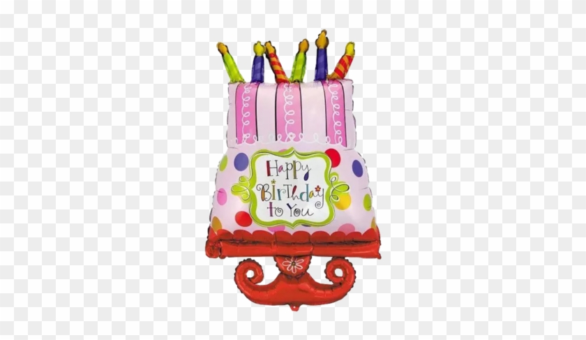 Happy Birthday Cake With Candles Foil Balloon - Amscan Happy Birthday Sweet Stuff Table Cover #488340