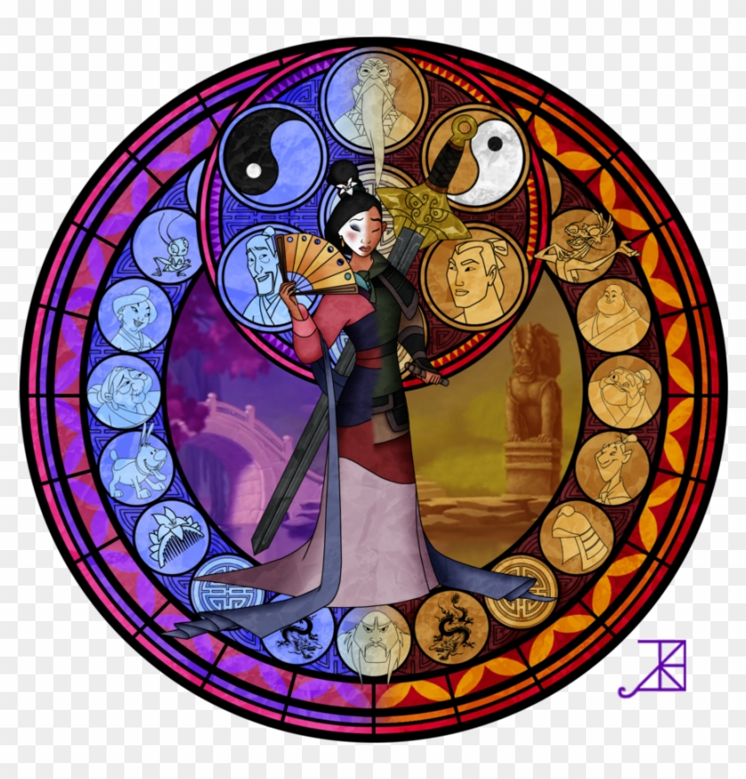 Free Beauty And The Beast Stained Glass Window Rose - Kingdom Hearts Stained Glass Mulan #488528